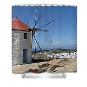 Old Mill In Greece Shower Curtain