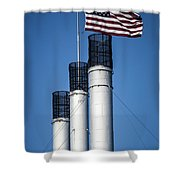 Old Mill Smoke Stacks With Flag Shower Curtain