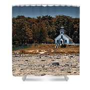 Old Mission Point Light House 01 Shower Curtain