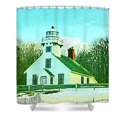 Old Mission Point Lighthouse Shower Curtain