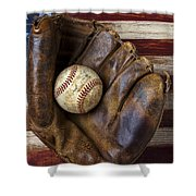 Old Mitt And Baseball Shower Curtain by Garry Gay