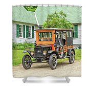 Old Model T Ford In Front Of House Shower Curtain