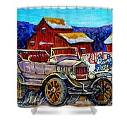 Old Model T Car Red Barns Canadian Winter Landscapes Outdoor Hockey Rink Paintings Carole Spandau Shower Curtain