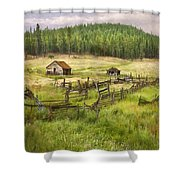Old Montana Homestead Shower Curtain by Sharon Foster