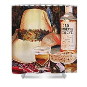 Old Montana Red Eye Shower Curtain