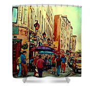 Old Montreal Cafes Shower Curtain