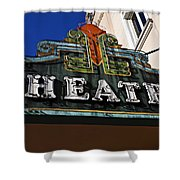 Old Movie Theatre Sign Shower Curtain