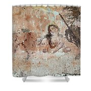 Old Mural Painting In The Ruins Of The Church Shower Curtain