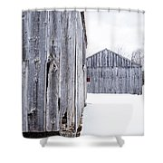 Old New England Barns Winter Shower Curtain