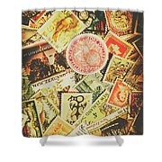 Old New Zealand Stamps Shower Curtain