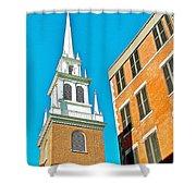 Old North Church Tower In  Boston-massachusetts Shower Curtain