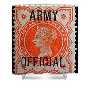 Old Orange Halfpenny Stamp  Shower Curtain