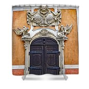 Old Ornate Door At The Cesky Krumlov Castle At Cesky Krumlov In The Czech Republic Shower Curtain