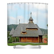 Old Orthodox Wooden Church On Hill Shower Curtain