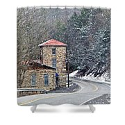 Old Paint Mill Winter Time Shower Curtain