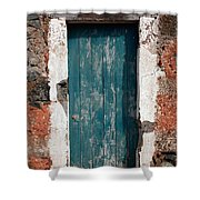 Old Painted Door Shower Curtain
