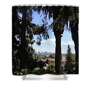 Old Palm Trees And Downtown Los Angeles Shower Curtain