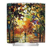 Old Park 3 - Palette Knife Oil Painting On Canvas By Leonid Afremov Shower Curtain