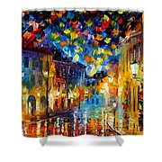 Old Part Of Town - Palette Knife Oil Painting On Canvas By Leonid Afremov Shower Curtain