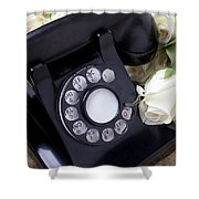 Old Phone And White Roses Shower Curtain by Garry Gay