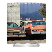 Old Plymouths With Mountain View  Shower Curtain