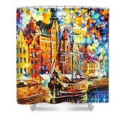 Old Port - Palette Knife Oil Painting On Canvas By Leonid Afremov Shower Curtain
