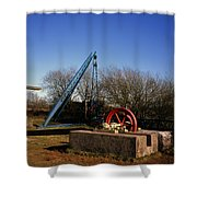 Old Quarry Machinery Winter Day Tegg's Nose Country Park Macclesfield Cheshire England Shower Curtain
