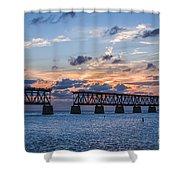 Old Rail Bridge At Florida Keys Shower Curtain