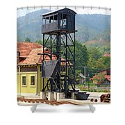 Old Railway Station On Mountain Shower Curtain