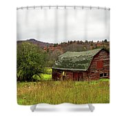 Old Red Adirondack Barn Shower Curtain by Nancy De Flon
