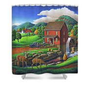 Old Red Appalachian Grist Mill Rural Landscape - Square Format  Shower Curtain