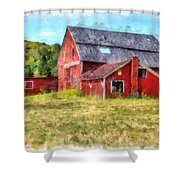 Old Red Barn Abandoned Farm Vermont Shower Curtain