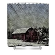 Old Red Barn In Winter Shower Curtain