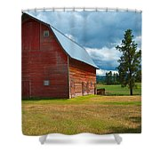 Old Red Big Sky Barn  Shower Curtain
