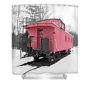 Old Red Caboose Square Shower Curtain