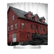 Old Red House In Shelburne Falls Shower Curtain
