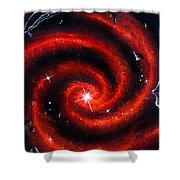 Old Red Spiral Galaxy Shower Curtain