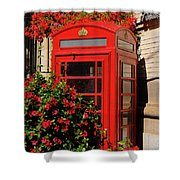 Old Red Telephone Box Or Booth Surrounded By Red Flowers In Toro Shower Curtain