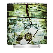 Old Retro Film Camera In Creative Composition Shower Curtain
