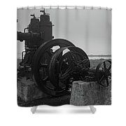 Old Rice Field Pump Bw Shower Curtain