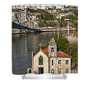 Old Riverside Church In Portugal Shower Curtain