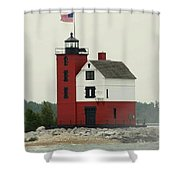 Old Round Island Point Lighthouse Michigan Shower Curtain