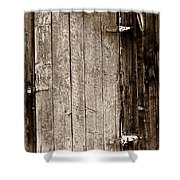 Old Rustic Black And White Barn Woord Door Shower Curtain