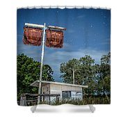 Old Rustic Fuel Station Sign In The Countryside Shower Curtain