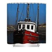 Old Rustic Red Fishing Boat Shower Curtain