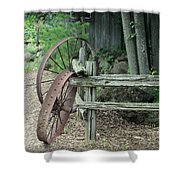 Old Rusty Wagon Wheels And Weathered Fence Shower Curtain