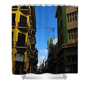Old San Juan Puerto Rico Downtown On The Corner Shower Curtain