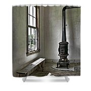 Old School House Stove Shower Curtain