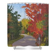 Old Scoolhouse Road Fall - Art By Bill Tomsa Shower Curtain
