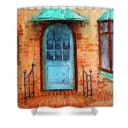 Old Service Station With Blue Door Shower Curtain